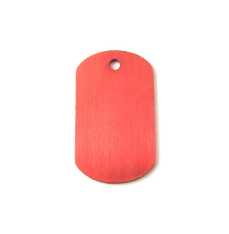 Mini Red Aluminum Dog Tag Blank Pendant (38mm x 22mm)