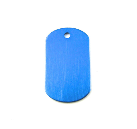 Mini Blue Aluminum Dog Tag Blank Pendant (38mm x 22mm)