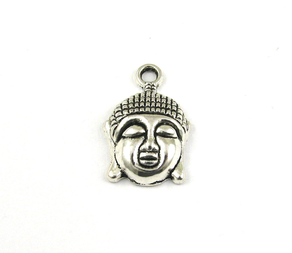 Buddha Head Antique Silver Charm