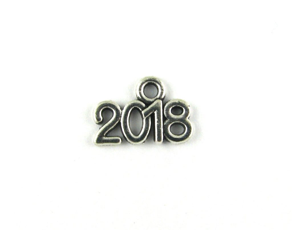 """2018"" Antique Silver Charm"