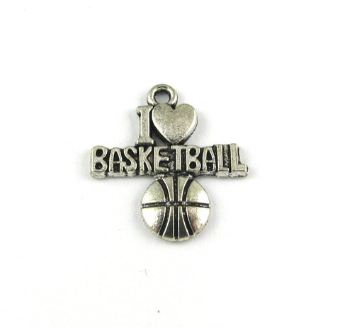 """I Love Basketball"" Antique Silver Charm"