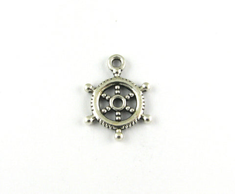 Ships Wheel Rudder Antique Silver Charm