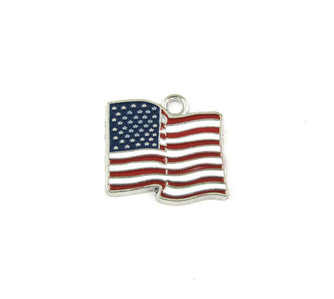 American Flag Waving Enameled Antique Silver Charm