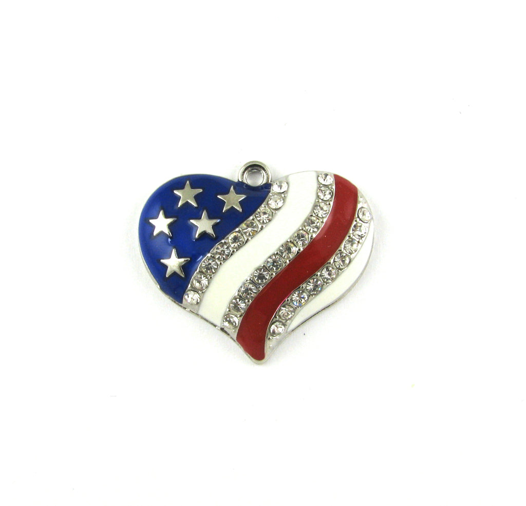 Heart Flag Enameled with Rhinestones Antique Silver Charm
