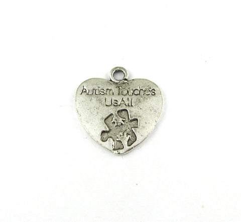 """Autism Touches Us All"" Heart Antique Silver Charm"