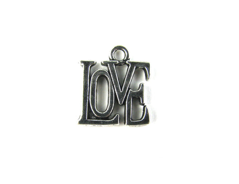 """Love"" Stencil Antique Silver Charm"