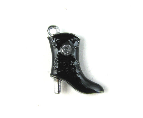 Black High Heeled Boot Silver Toned Charm