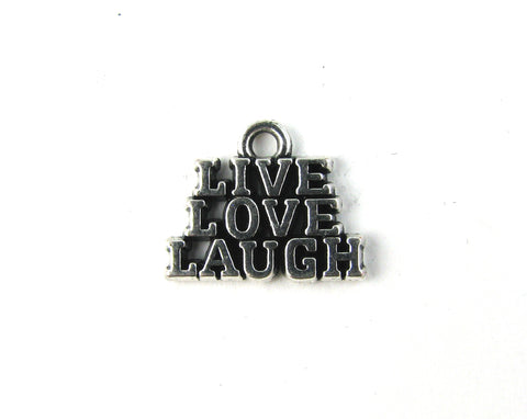 """Live, Love, Laugh"" Antique Silver Charm"