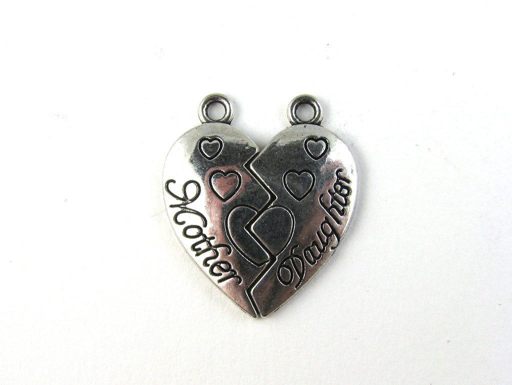 Mother & Daughter Heart Puzzle Antique Silver Charm