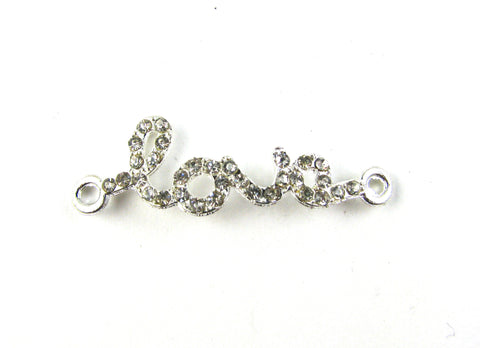 """Love"" Silver Plated w/Crystal Curved Connector"