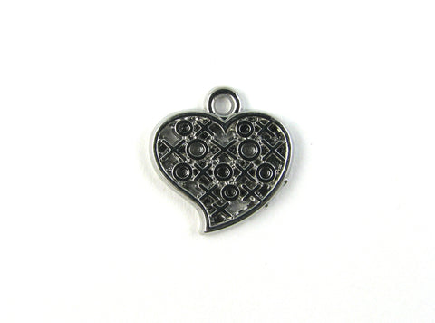 XOXO Heart Rhodium Plated Charm