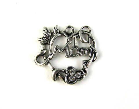 """Mom"" Heart Antique Silver Charm"