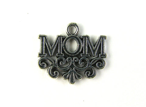 """Mom"" Antique Silver Charm"
