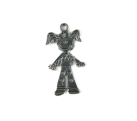 Girl with Pig Tails Antique Silver Charm