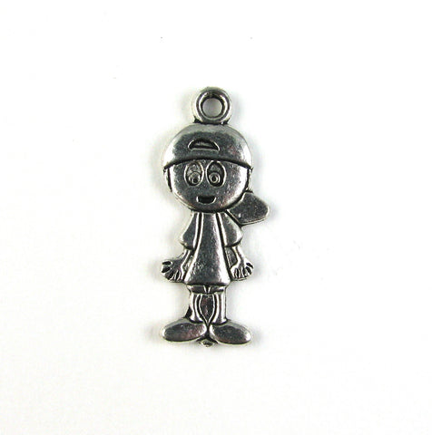 Boy with Baseball Hat Antique Silver Charm