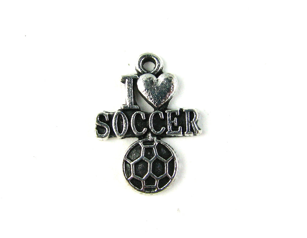 """I Love Soccer"" Antique Silver Charm"