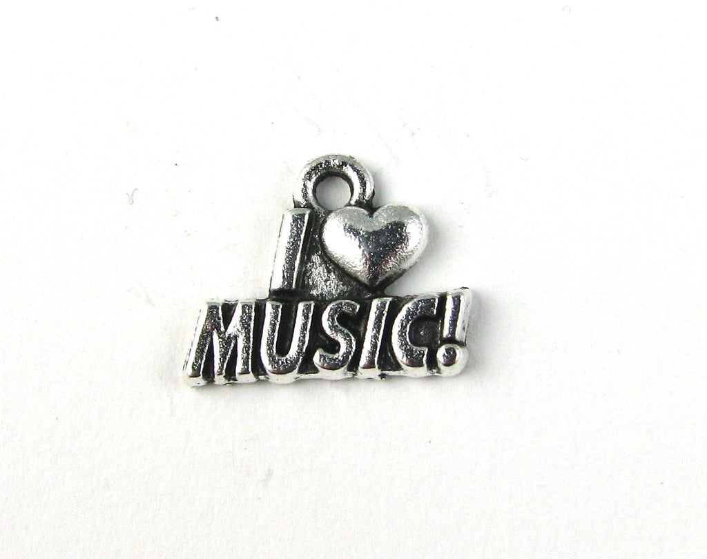 """I Love Music"" Antique Silver Charm"