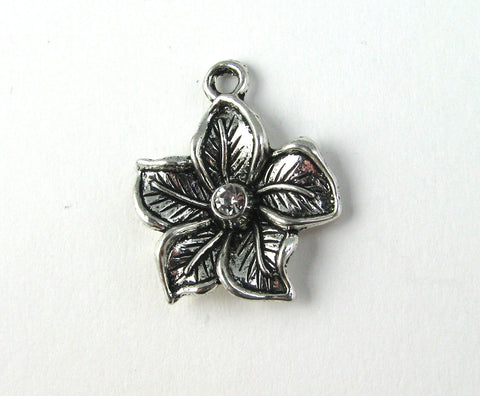 Five Petal Flower w/Rhinestone Antique Silver Charm