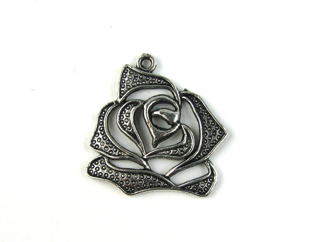 Stencil Rose Antique Silver Charm