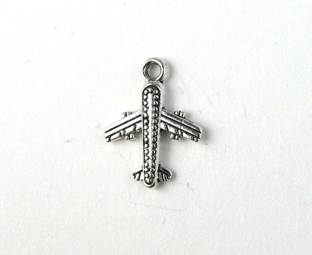 Airplane Antique Silver Charm