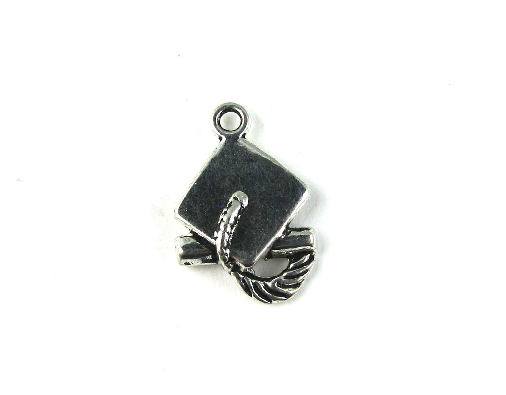 Graduation Hat Antique Silver Charm