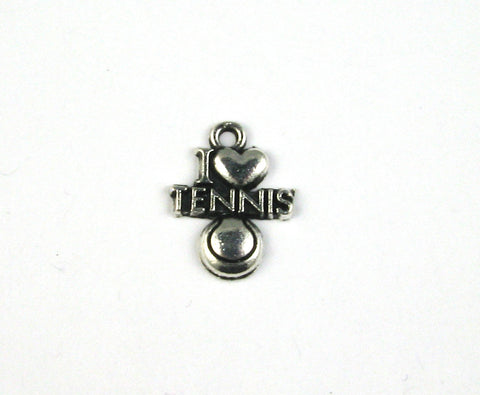 """I Love Tennis"" Antique Silver Charm"