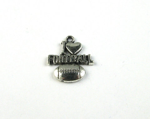 """I Love Football"" Antique Silver Charm"
