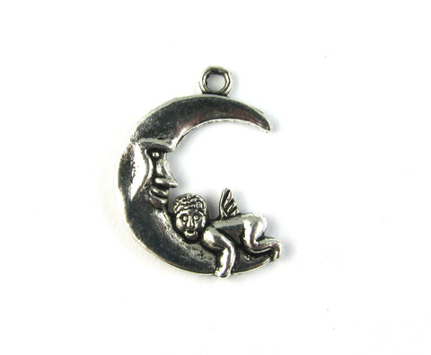 Moon w/Baby Angel Antique Silver Charm