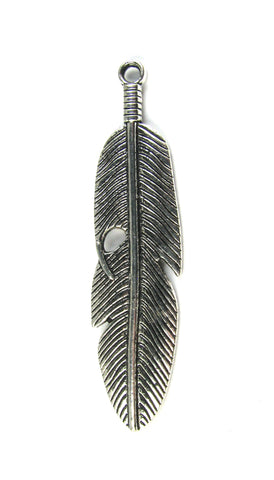 Large Feather Antique Silver Charm