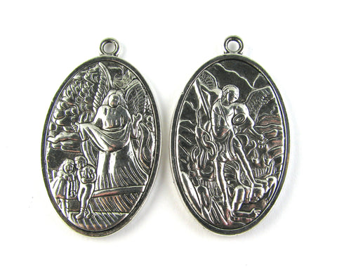 Guardian Angel/St. Michael Antique Silver Charm