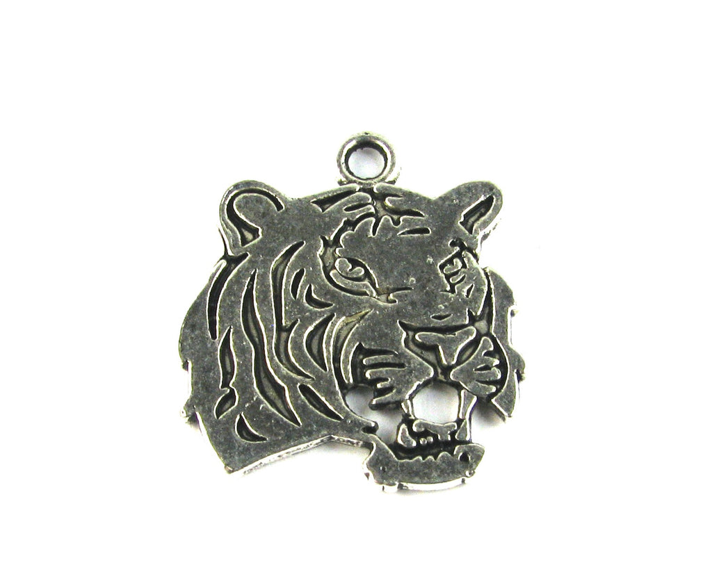 Tiger Head Antique Silver Charm