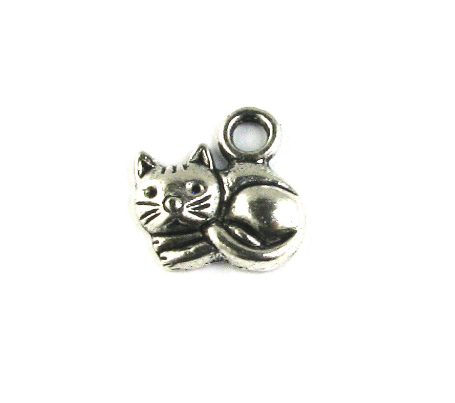Cat Laying Down Antique Silver Charm