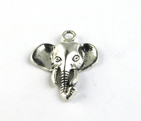 Elephant Head Antique Silver Charm