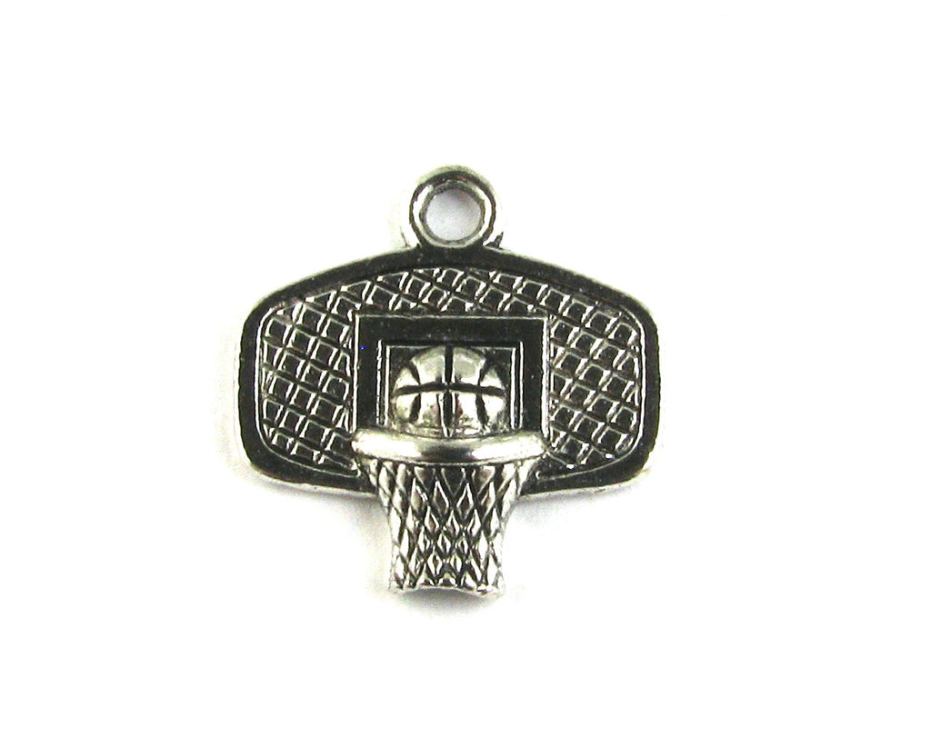 Basketball Hoop Antique Silver Charm