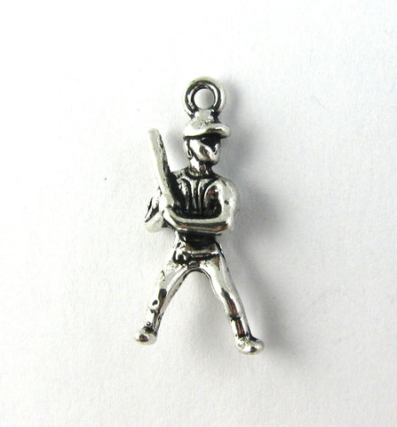 Baseball Player at Bat Antique Silver Charm