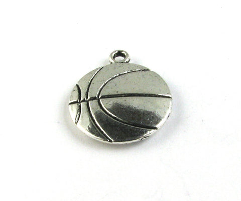 Flat Basketball Antique Silver Charm