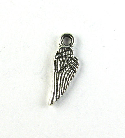 Tiny Angel Wing Antique Silver Charm