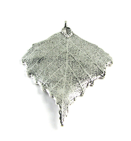 Large Silver Tree Leaf Antique Silver Charm
