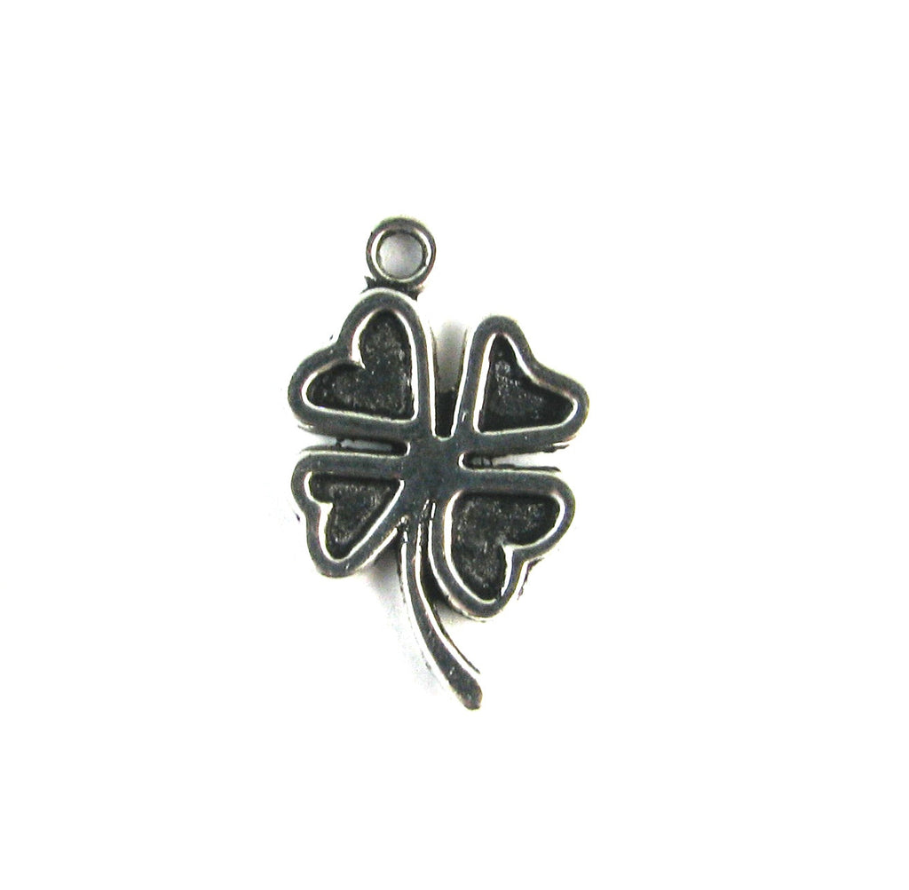 Four Leaf Heart Clover Antique Silver Charm