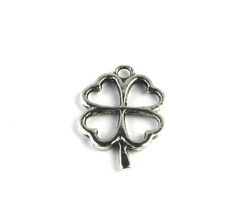 Four Leaf Clover Stencil Antique Silver Charm
