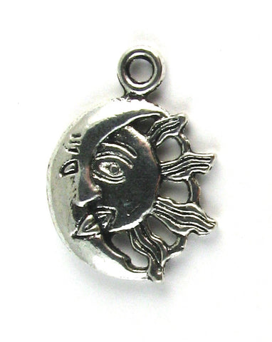 Half Moon & Half Sun Antique Silver Charm