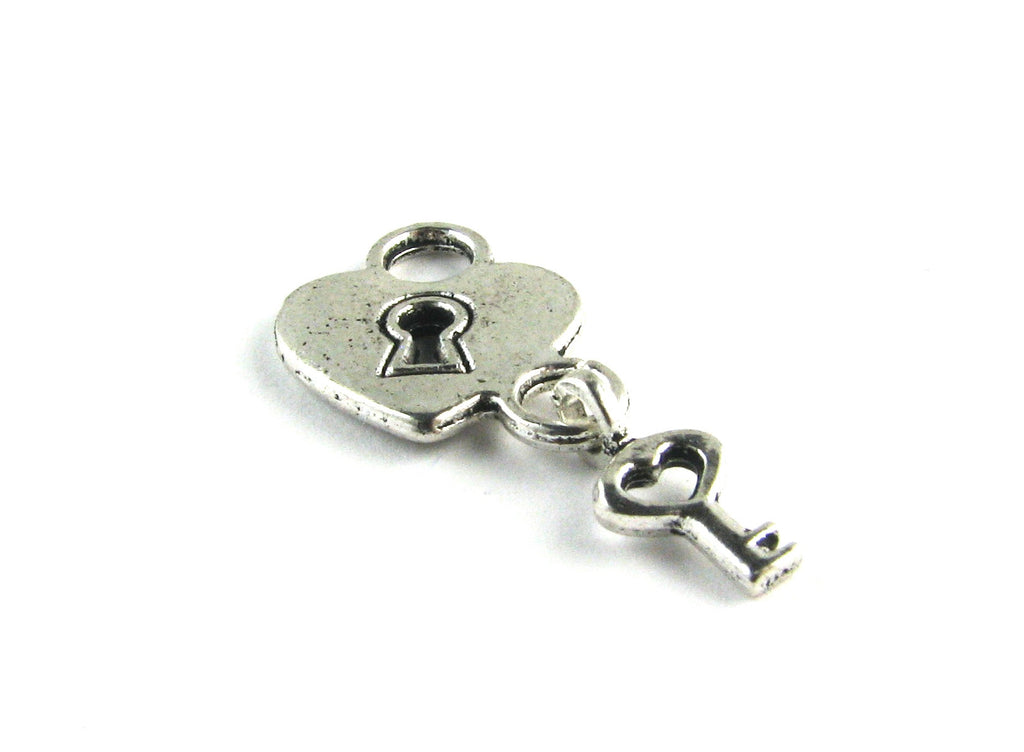 Heart Lock w/Key Antique Silver Charm