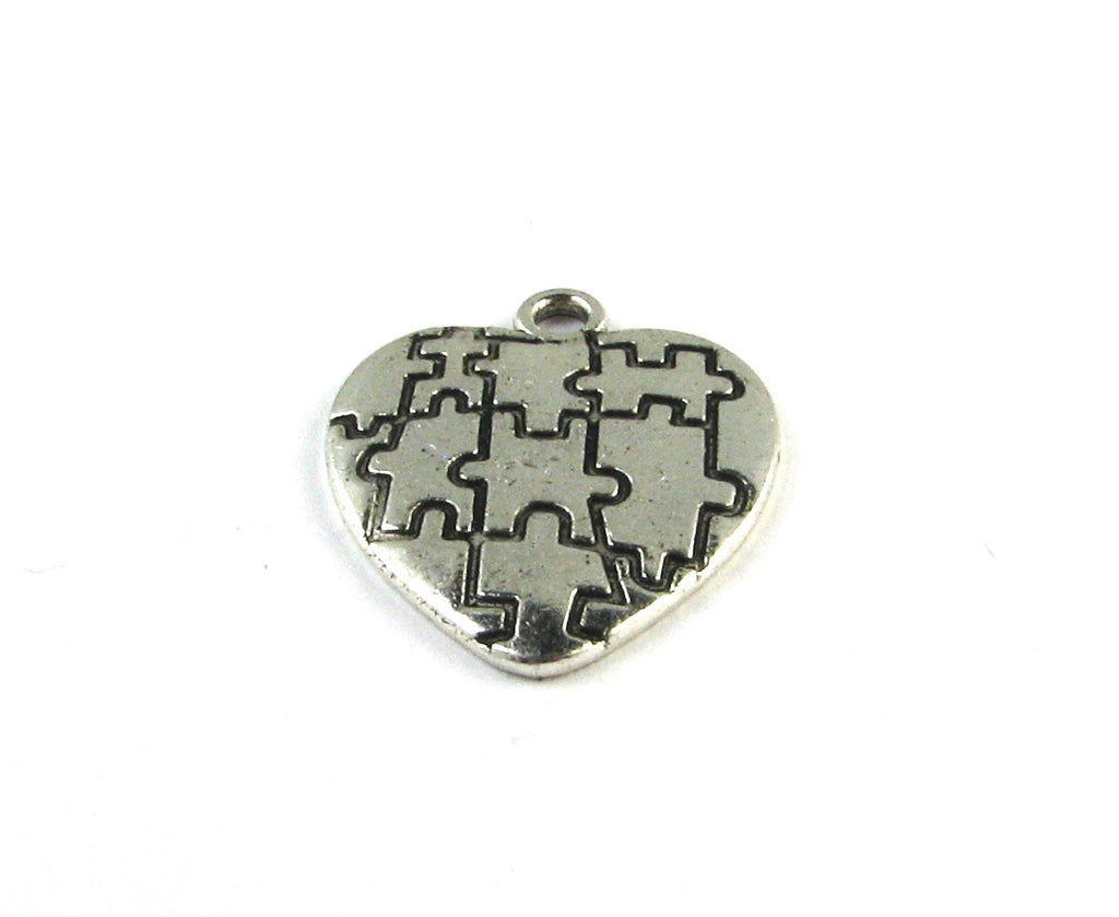 Puzzle Piece Heart Antique Silver Charm