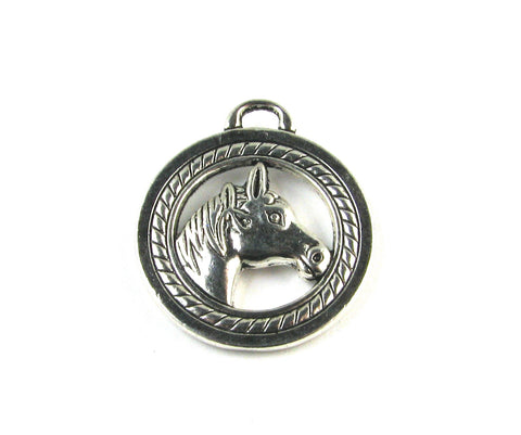 Horse Head Antique Silver Charm