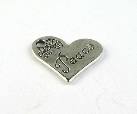 """Peace"" Heart Antique Silver Charm"