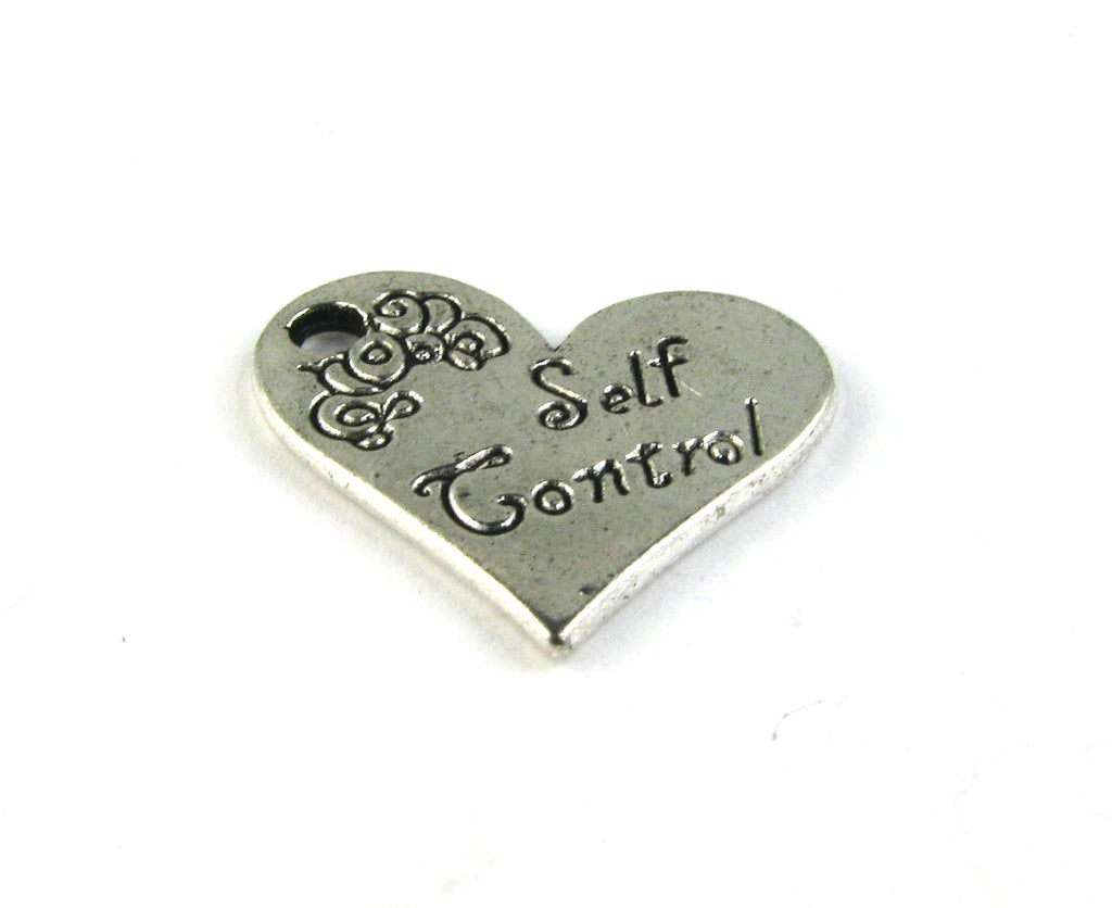 """Self Control"" Antique Silver Heart Charm"