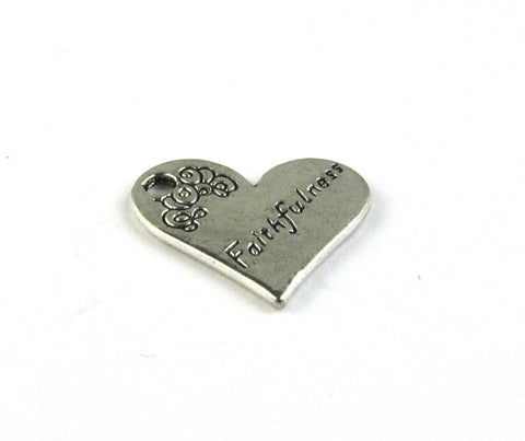 """Faithfulness"" Heart Antique Silver Charm"