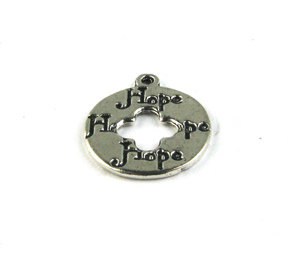 """Hope"" Round Disc Antique Silver Charm"