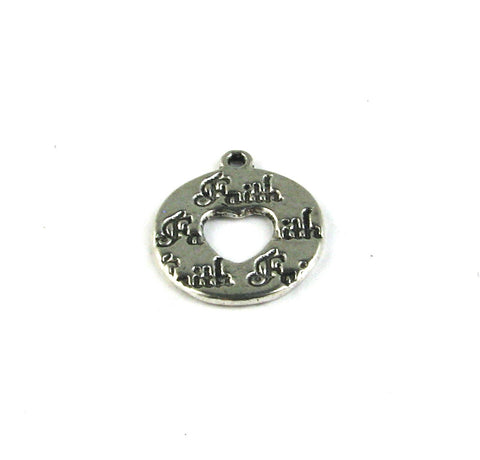 """Faith"" Round Disc Antique Silver Charm"