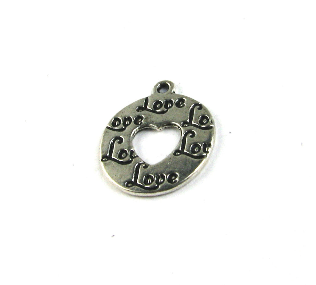 """Love"" Round Disc Antique Silver Charm"